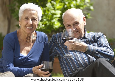 Lovely senior couple on a picnic toasting with wine - stock photo