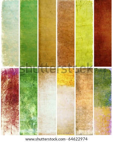 lovely set of banners with earthy textures - stock photo