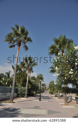 lovely sidewalk at Puerto Banus beach, Spain - stock photo
