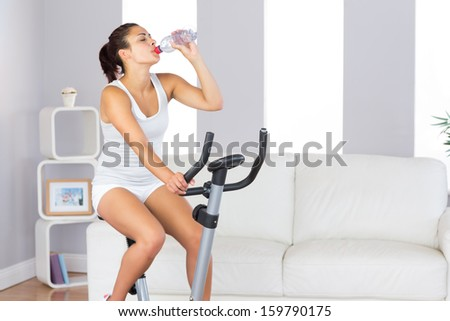 Lovely slender woman drinking while training on an exercise bike in her living room at home - stock photo