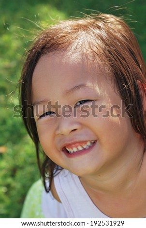 Lovely smile child girl with decayed teeth
