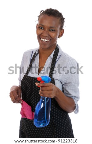 Lovely smiling African lady with cleaning spray and rag - stock photo