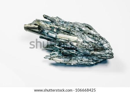 Lovely Stibnite crystal with gray metallic shine - stock photo