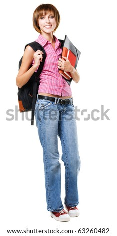 Lovely student girl against white background - stock photo