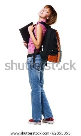 Lovely student girl, isolated on white - stock photo