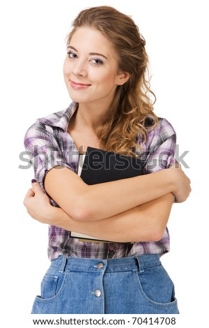 Lovely student girl with a book against white background - stock photo