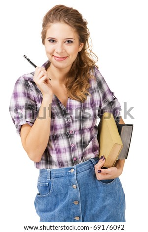 Lovely student girl with a pencil and books, white background - stock photo