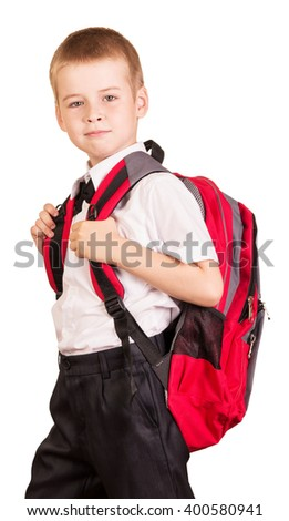 Lovely student with a red backpack isolated on white background. - stock photo