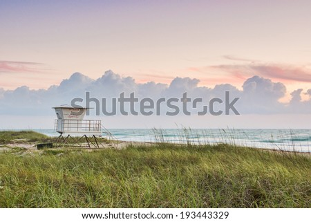 lovely sunrise at hutchinson island beach along florida atlantic coast - stock photo