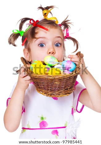 Lovely surprised Easter kid hiding - stock photo