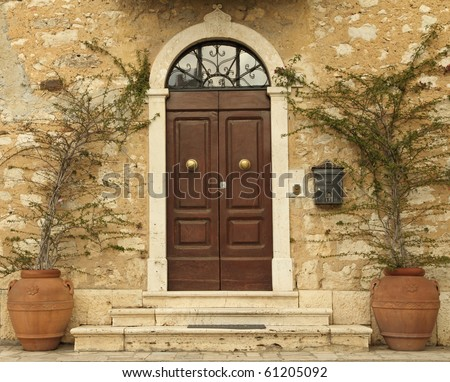 lovely tuscan front door, Italy, Europe - stock photo