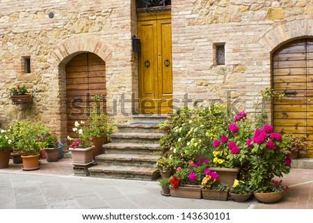 lovely tuscan street, Pienza, Italy - stock photo