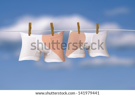 Lovely underwear in clothes line