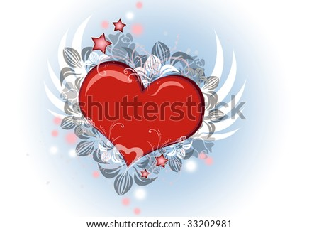 Lovely Valentine heart with wings flying - stock photo