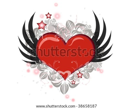 Lovely Valentine heart with wings flying isolated over white - stock photo