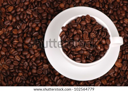 Lovely white coffee cup over coffee background on coffee beans background/coffee cup