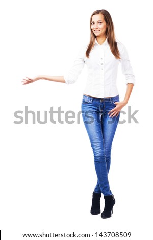 Lovely woman holding something imaginary. Isolated on white background - stock photo