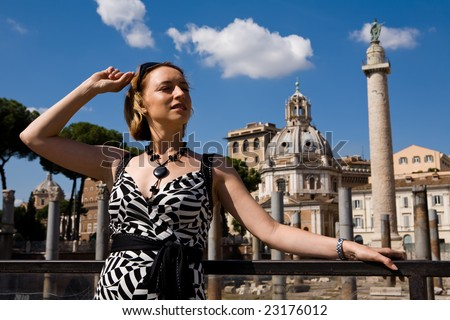 Lovely woman in Rome town, Italy - stock photo