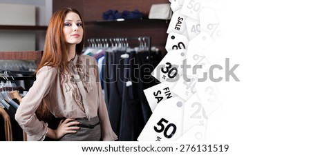 Lovely woman is in the shopping center, sale coupons background - stock photo