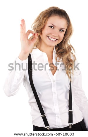 lovely woman showing ok sign isolated - stock photo