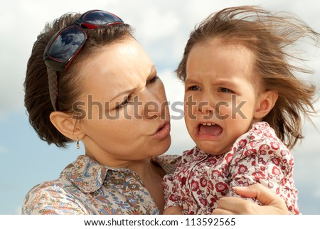 Lovely woman went for a walk with her �¢??�¢??little daughter - stock photo