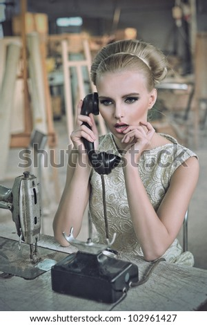 Lovely woman with a phone