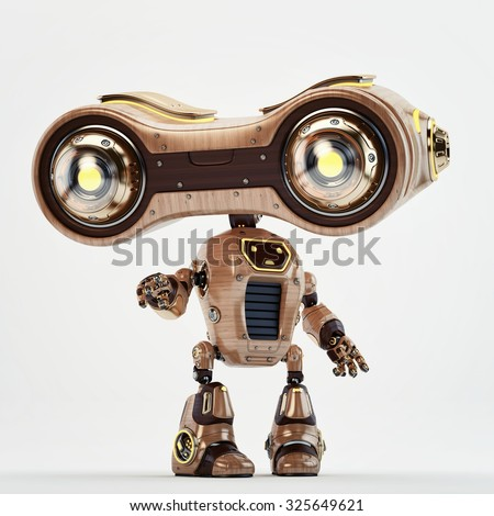Lovely wooden old-school robotic toy / Wooden look-see robot - stock photo