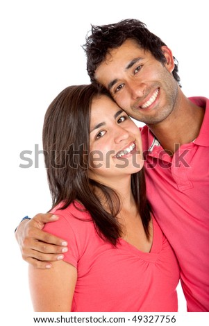 Lovely young couple isolated over a white background - stock photo