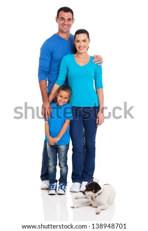 lovely young family with and pet dog isolated on white background - stock photo