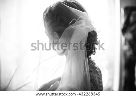 lovely  young girl looks in a window