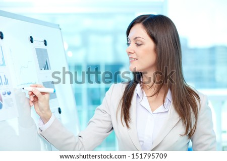 Lovely young lady holding business training - stock photo