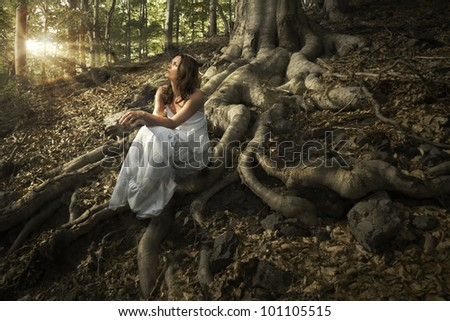Lovely young lady wearing elegant white dress enjoying the beams of celestial light on her face sitting on the mighty roots of an ancient tree in enchanted woods - stock photo