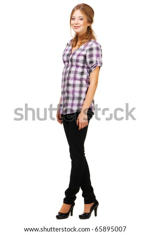 Lovely young woman in casual clothing, white background - stock photo