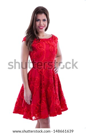 lovely young woman in red dress
