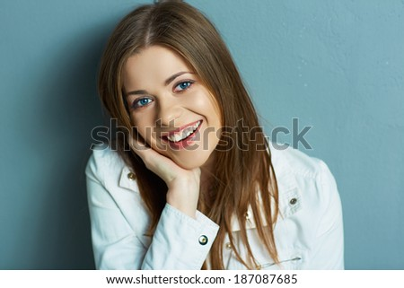 Lovely young woman portrait. Smiling girl. - stock photo