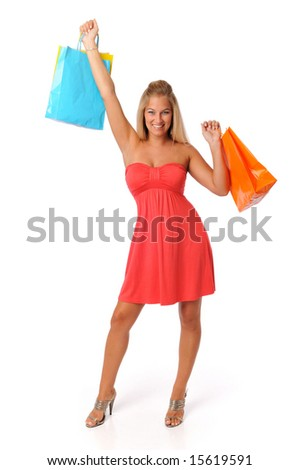 Lovely young woman shopping isolated on a white background