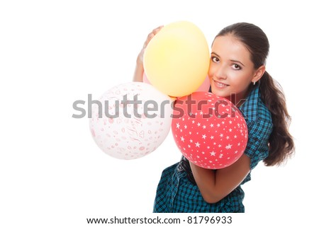 lovely young woman with balloons for happy birthday over white background - stock photo