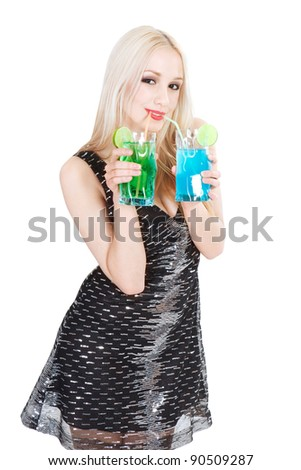 lovely young woman with cocktails over white background - stock photo
