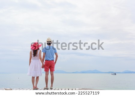 Lover beside the sea - stock photo