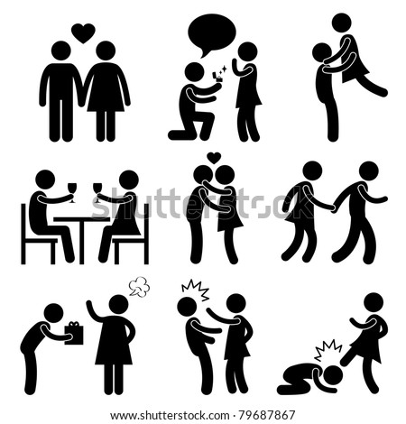 Lover Couple Love Proposal Wedding Marriage Hug Romantic Kissing Holding Hand Gift Angry Slap Kick - stock photo