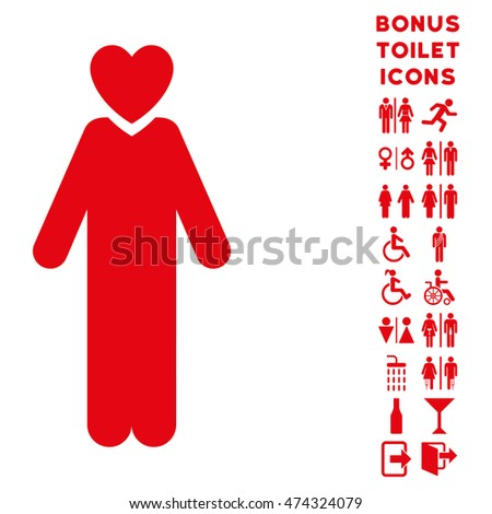 Lover Man icon and bonus gentleman and female restroom symbols. Glyph illustration style is flat iconic symbols, red color, white background.