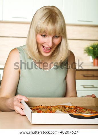 Lover of pizza - stock photo