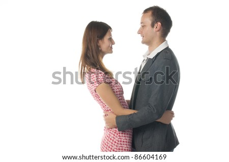 Lovers are holding each other. - stock photo