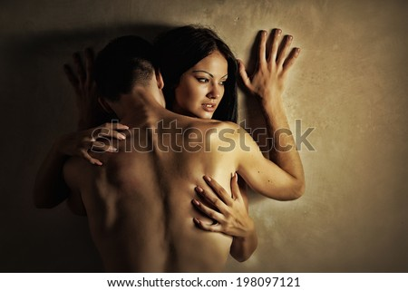 Lovers. Couple in love embracing. Sexy beauty couple - stock photo