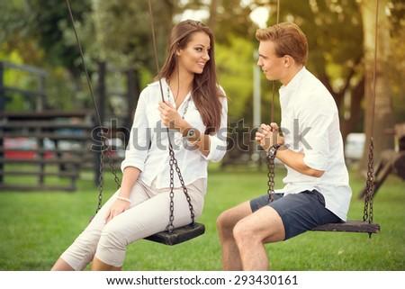 lovers enjoying carefree time - stock photo