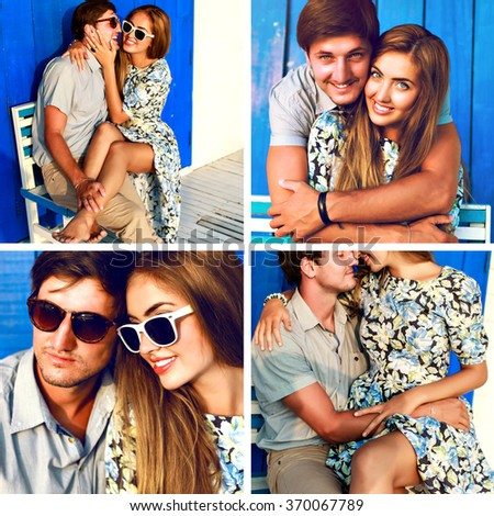Lovers having fun together, photo set of stylish happy young couple having fun on vacation, elegant romantic style,sensual emotions, love, hugs and kisses, glamour trendy hipster couple collage. - stock photo