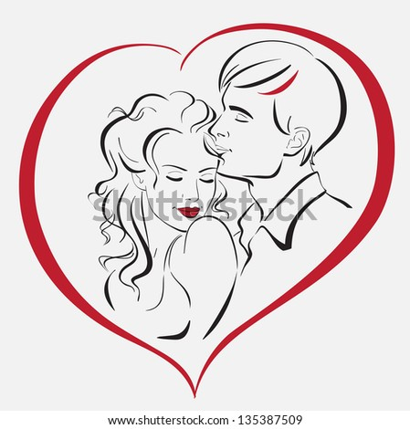 Lovers in heart Young adults standing together with closed eyes - stock photo