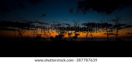 Lovers Key Beach after Sunset Panoramic shot - stock photo