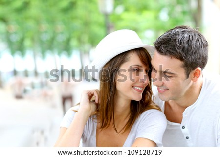 Lovers looking at each other with romantic look - stock photo