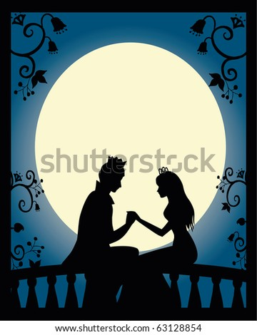 lovers on a balcony at night (vector is available in my portfolio) - stock photo